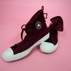 Size 9 Burgundy High Top Converse Sneakers
